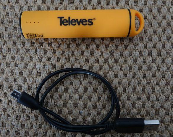 Powerbank carregador TELEVES 2800 MAH com cabo usb como novo