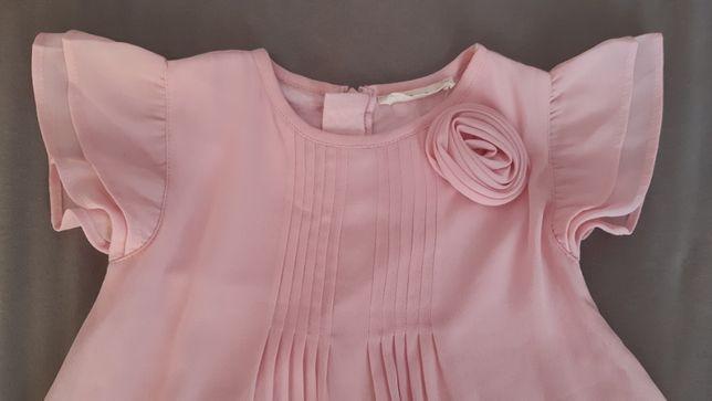 Sukienka różowa r 86 Prenatal j HM wesele komunia falbanki