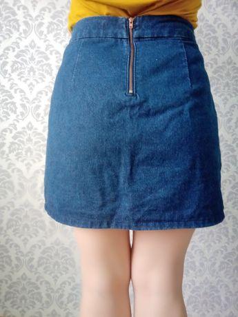 Джинсовая юбка с высокой талией трапеция джинсы 44-46