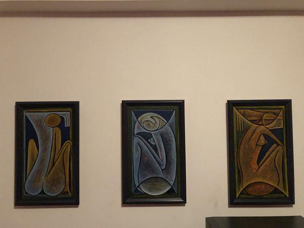 Conjunto 3 telas motivos africanos com moldura