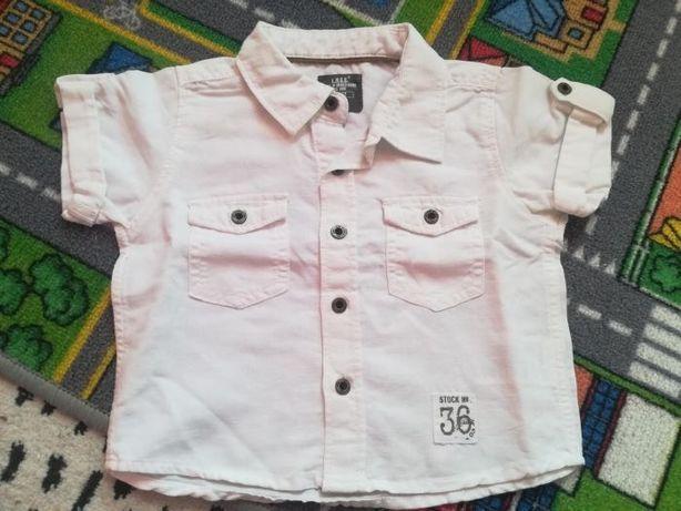 Bluzka t-shirt H&M r.62 krótki rękaw kolor biały kołnierzyk