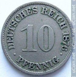 Niemcy 10 fenigów, 1876