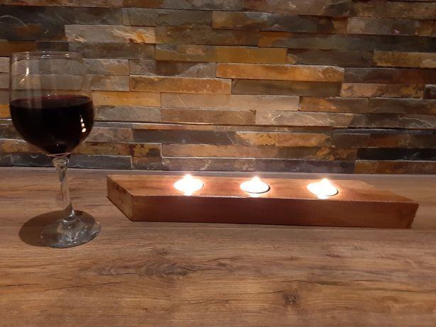 Świecznik drewniany, wyjątkowy prezent, rękodzieło, romantyczny