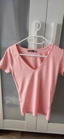 Morelowy t shirt z dekoltem Bershka r. 34 XS