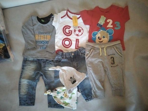 Zestaw dla chłopca ubrania spodnie bluzki 80cm 17szt