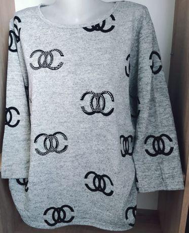 Bluzka sweterek damska, cyrkonie L, XL, XXL plus size