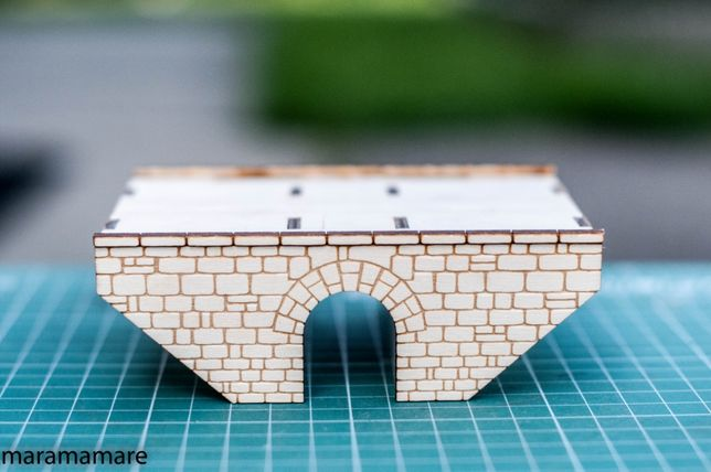 Przepust kamienny dwutorowy H0 Model do sklejania