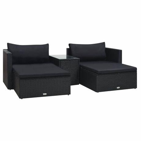 vidaXL 5 pcs conjunto lounge de jardim c/ almofadões vime PE preto 47813