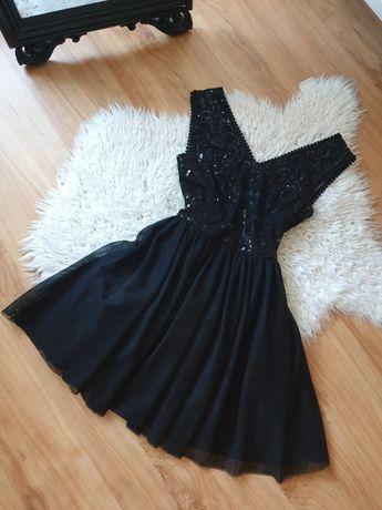 Czarna sukienka ze zdobieniem, tiul rozmiar S/M