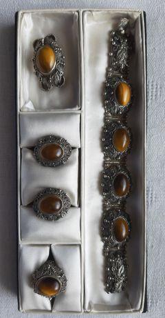 Komplet  srebrnej biżuterii lata 50te filigram