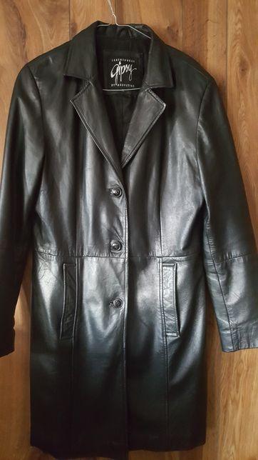 Czarna  damska kurtka jesienna płaszczyk skórzany r.M