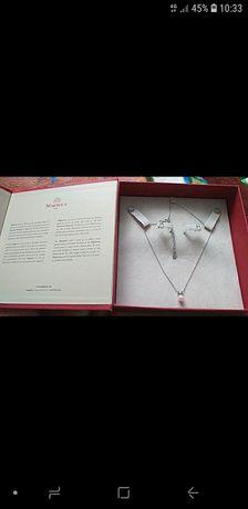 Srebrny komplet z perelkami *Majorica Prezent na walentynki