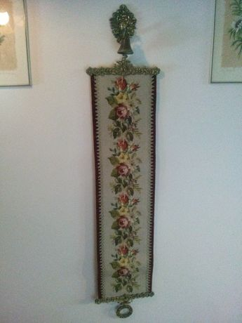 Ozdobny Mosiężny Brąz Dzwonek Koscielny Szarfa Gobelin