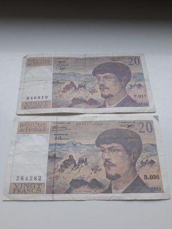 Banknoty Francja 20 franków cena za 2szt