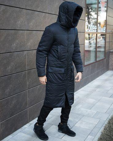 Мужская темно синяя удлиненная куртка пальто