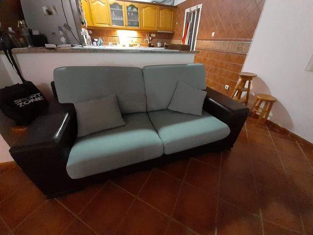 Sofá 2 lugares + mesa de centro pele