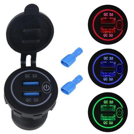 USB Зарядка в автомобиль, мотоцикл, лодку, катер, кемпинг, QC3.0, ЮСБ