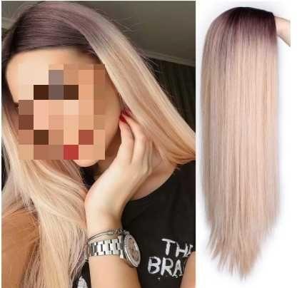 Peruka Platynowy Blond Ombre długa prosta NOWA!