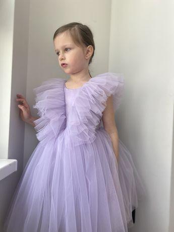 Нарядное пышное лавандовое, сиреневое платье на празлник весны 110, 5