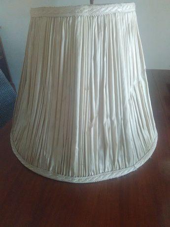 Abajur vintage retro grande, tecido bege