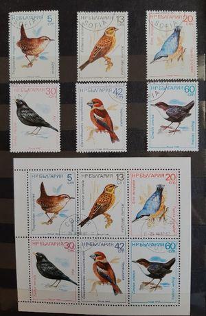 Znaczki pocztowe Bułgaria. Ptaki. Gołębie. Pelikany. Dzięcioły.