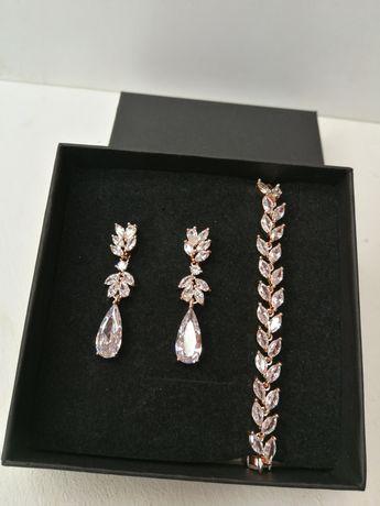 Nowy złoty komplet biżuterii z cyrkoniami różowe złoto Rose Gold