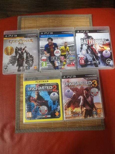 Gry PS3 (God of War Saga, Uncharted 2 i 3, Battlefield 4, FIFA)