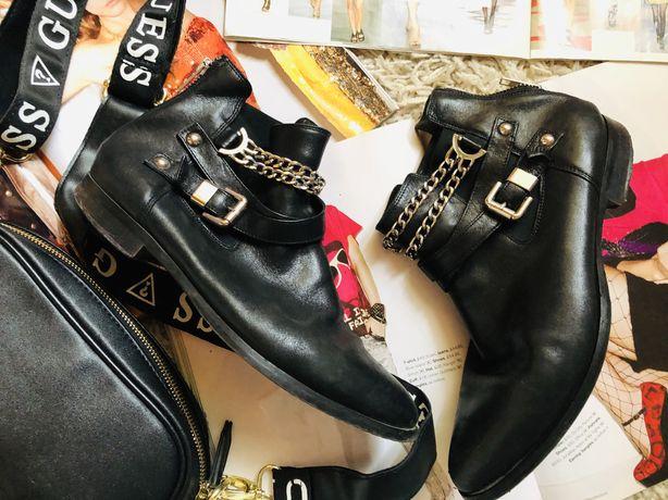 Кожание ботинки сапоги какиzara mango hm