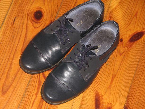 granatowe skórzane buty 34 SUPER STAN