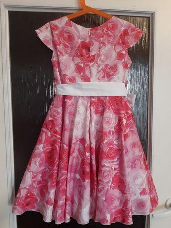 Sukienka dla dziewczynki r 128 róż i biel róże na wesele