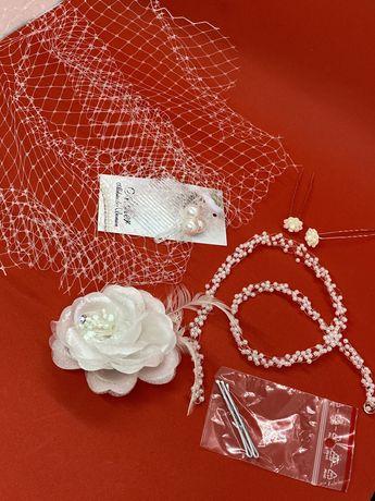 Biżuteria ślubna woal + broszka + spinki