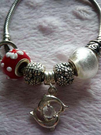 Bransoletka typu Pandora, kolczyki, zestaw biżuterii