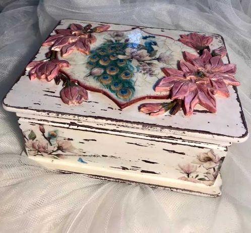 szkatułka pudełko na biżuterie handmade decoupage shabby chic