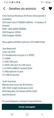 Portátil Asus Core I7 Gaming ROG barato