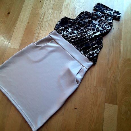 Elegancka mini sukienka z ciekawą panterkową górą