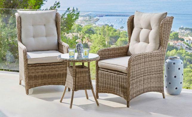 Fotele ogrodowe 2 szt »Cannes« 2 fotele+stół polirattan