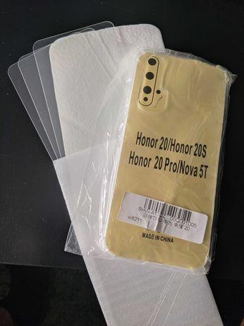 Conjunto 1 capa, 3 vidros temperados para Huawei Nova 5T, Honor 20