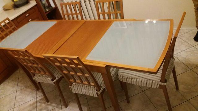 Stół kuchenny + 6 krzeseł, meble kuchenne, nowy okap Franke