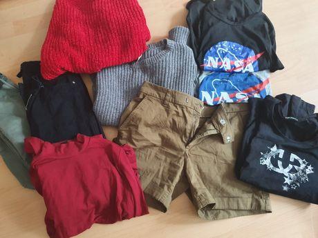 Paka ubran S damskich spodnie/spodenki/sweterek/koszulki