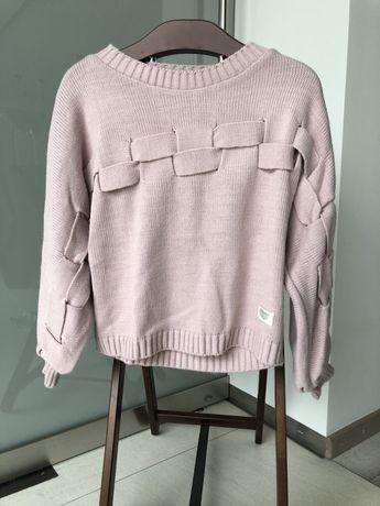 Sweter by o la la zimowy ciepły sweterek blady róż