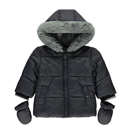 szara kurtka zimowa + rękawiczki 74cm 6-9m