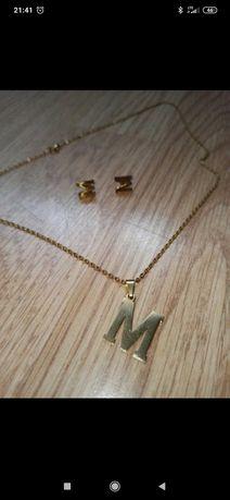 Zestaw biżuteri damski literka M