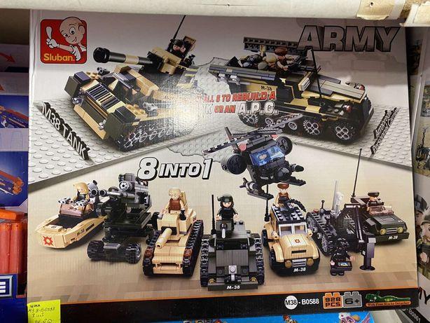 Большой конструктор 928 деталей армия, танки 8в 1