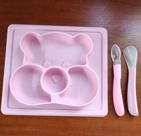 Тарелка  силиконовая для прикорма , ложечки для прикорма, поильник