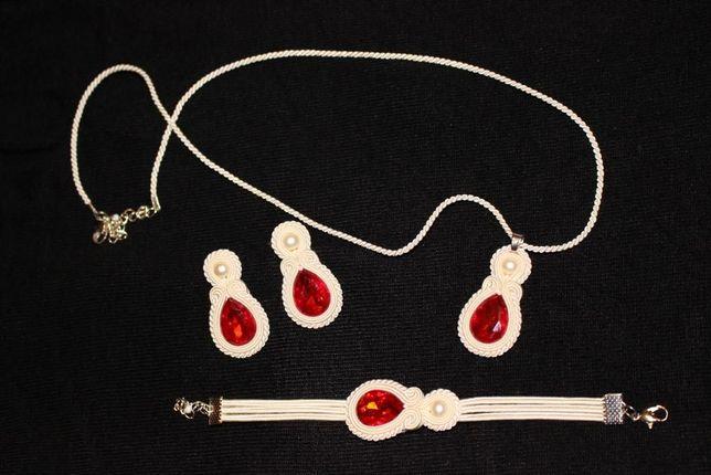 Soutache biżuteria ślubna ivory-czerwień