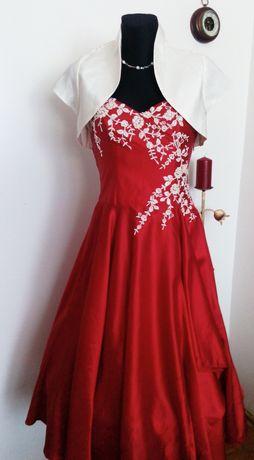Sukienka  34/36 czerwona z koronkowa aplikacja