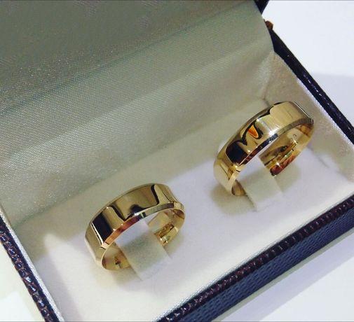 Przepiękna Para Fazowanych Złotych Obrączek Ślubnych
