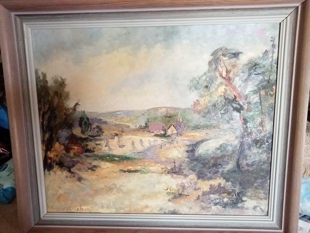 Stary obraz olejny na płótnie Sygnatura artysty impresjonizm midernizm