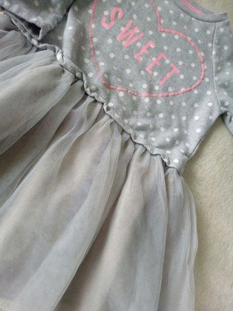 Sukienka dresowa tiul szara