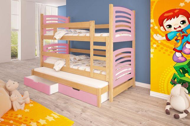 Łóżko piętrowe dla trójki dzieci OLEK! Wysuwane spanie!